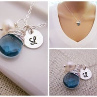 Personalized Blue Briolette Wire Wrapped Initial Necklace - Custom Initial Necklace - Bridesmaid Necklace - Freshwater Pearl Sterling Silver