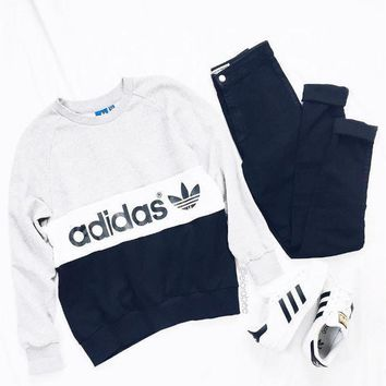 shosouvenir £º Adidas Women Fashion Round Neck Top Sweater Pullover Sweatshirt