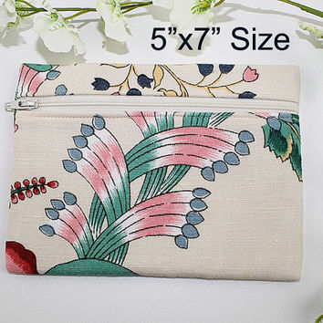 Floral Zipper Pouch or Makeup Bag, Colorful Modern on Ivory Floral, ZS111