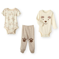 Koala Baby Neutral 3 Piece Tan Layette Set with Bear Face Bodysuit, Bear Print Bodysuit and Paw Print Footed Pant