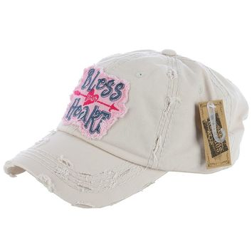 "Beige ""Bless Your Heart"" Patch Baseball Cap"