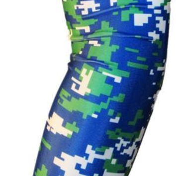 ARM SLEEVE ● Blue Green White Digital Camo
