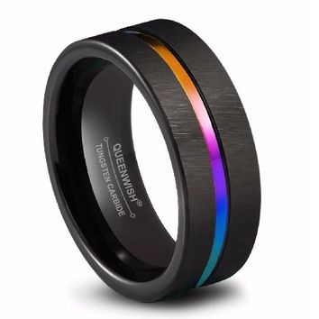 Matte Rainbow Grooved Center Promise Rings for Couples