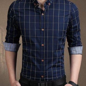 Color Block Checked Splicing Slimming Shirt Collar Long Sleeve Fashion Cotton Blend Button-Down Shirt For Men - Purplish Blue - M