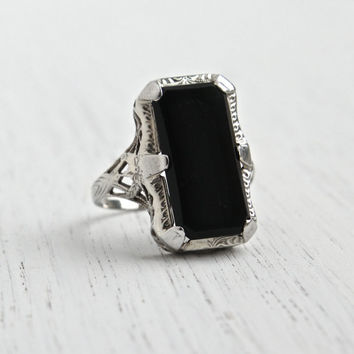Antique 14K White Gold Filigree, Onyx Ring - Art Deco Size 8 Black Rectangular Stone Signed OB Ostby & Barton Fine Jewelry / Statement Black