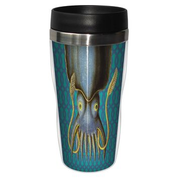 Blue Patterned Squid Travel Mug - Premium 16 oz Stainless Lined w/ No Spill Lid