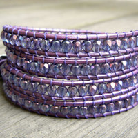 Beaded Leather Wrap Bracelet 4 or 5 Wrap with Purple Lavender Luster Czech Glass Beads on Metallic Purple Leather