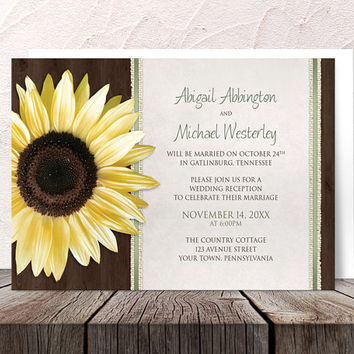 Sunflower Reception Only Invitations and RSVP - Country Wood Brown Green Sunflower Post Wedding Reception - Printed Invitations