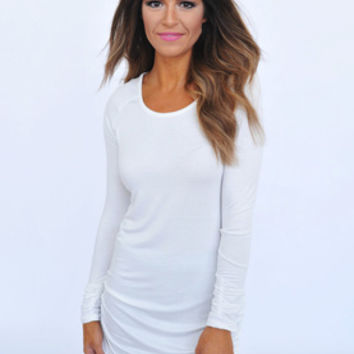 Long Sleeve Ruched Tunic- Ivory