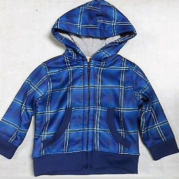 Healthtex Baby Toddler Boys' Sherpa Lined Jacket, 18 Months, Blue Plaid
