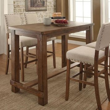 Sania Rustic Style Natural Tone Finish Bar Height Table