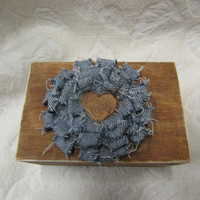 Rustic Woodland Country Cottage CHic Wedding Ringbearer Box With Blue Jean Flower and wood heart
