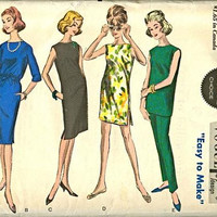 Vogue 5881 Sewing Pattern Retro 60s Basic Sheath Dress Drawstring Waist Tunic Shirt Pants Shorts Mad Men Style Bust 32