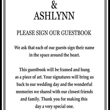 WEDDING GUESTBOOK SIGNATURE poster, personalized wedding word art, Wedding sign in, 20x30 Signature Guest Book, love words poster