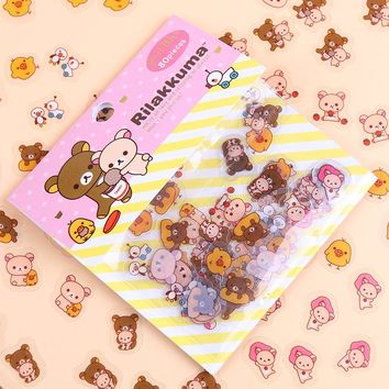 240PCS/lot Kawaii Rilakkuma His Circus Friends Series Sticker Pack Student Decoration Label Stationery Gift