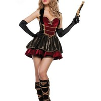 Adult Women's Sexy Spanish Pirate Red Gold Black Dress Halloween Costume SM/M