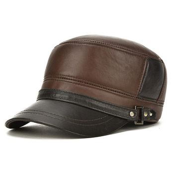 Mens Sheepskin Leather Flat Top Hat Outdoor Windproof Warm With Ear Flaps Truck Driver Cap