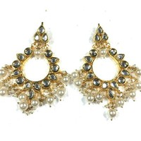 Bollywod Dangle Earrings- Women's Ethnic Kundan Bead Earring Bridal Party Polki Jewelry