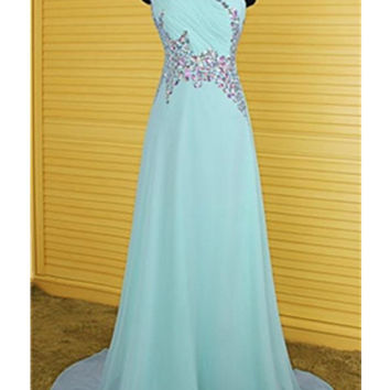 One Shoulder Light Sky Blue Long Beaded Chiffon Prom Dresses OK10