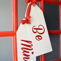 Valentine's Day Wreath, Be Mine Door Hanger Tags, Modern Rustic Handmade Decor