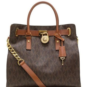 NWT MICHAEL KORS HAMILTON LARGE LOGO MK SIGNATURE BROWN TOTE BAG HANDBAG $358