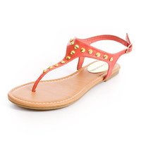 City Classified Brand Diary Studded Salmon Orange Coral Black Faux Leather Gladiator T-Strap Leather Sole Flip Flop Sandals Womens Shoes - High Heels - Flats - Womens Boots - Womens Sandals - Wedges from For Elyse