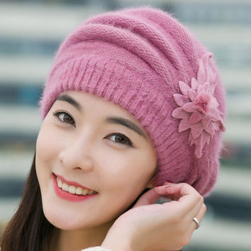 Flower Crochet Knitted Beanie Cap