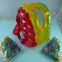 Brand New 90s MULTICOLOR Clear Inflatable Bubble Backpack Adjustable Rare & Hard to Find