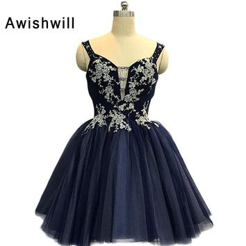 New Arrival 2018 Cocktail Dresses Navy Blue Spaghetti Strap Appluque Beaded Tulle Short Prom Dress With Open Back Party Dresses