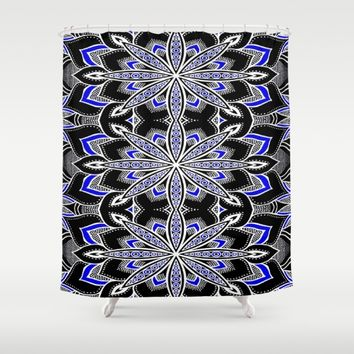 Mandala: Black White Blue Flower Shower Curtain by SimplyChic