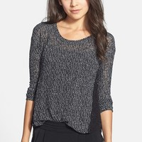 Lush Crochet Side Marled Sweater (Juniors) | Nordstrom