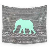 Society6 Mint Elephant Wall Tapestry