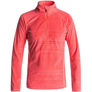 Roxy Cascade Half Zip Polar Fleece - Neon Grapefruit