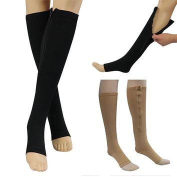 New Women Zipper Compression Socks Zip Leg Support Knee Sox Open Toe Sock Dropshipping