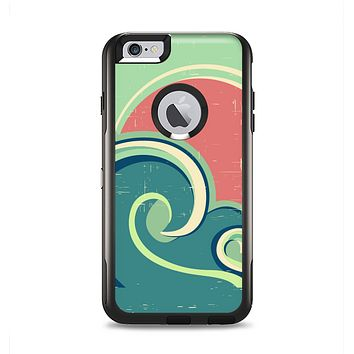 The Vector Retro Green Waves Apple iPhone 6 Plus Otterbox Commuter Case Skin Set