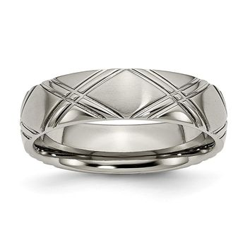 Titanium Criss-cross Design 6mm Brushed and Polished Band Ring 6 to 14 Size