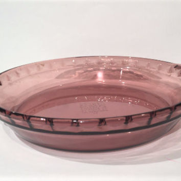 Pyrex Originals Cranberry Glass Pie Plate, Glass Baking Dish, Glass Cookware, Vintage Pyrex Cranberry Pie Plate 24 cm, Corning Ware Pyrex