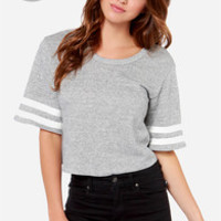 LULUS Exclusive Match Maker Heather Grey Crop Top