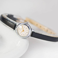 Small women's watch Seagull. Flowers pattern wristwatch for lady. Rare design Soviet lady watch. Round tiny watch. New premium leather strap