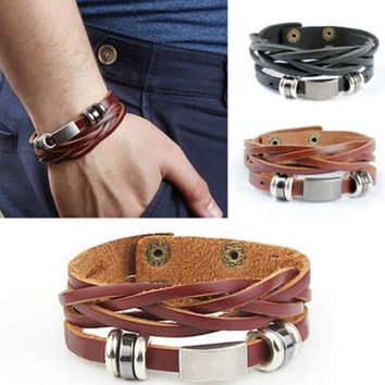 New Vintage Men's Metal Steel Studded Surfer Leather Bangle Cuff Bracelet + Gift Box
