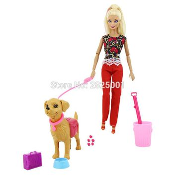 Plastic Dog Pet Sets Dog Food Bones Outside 1:6 Dollhouse Accessories Puppet Toy For Barbie Ken Doll Play House Early Education