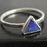 Genuine Blue Australian Boulder Opal and Sterling Silver Ring, Blue Opal Ring, Minimalist Stacking Ring, Natural Blue Opal, Triangular Stone