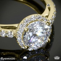 18k Yellow Gold Verragio Bead-Set Halo Diamond Engagement Ring
