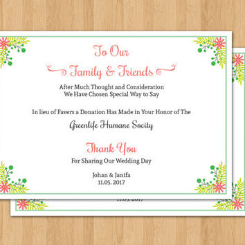 Favor Donation Card Template | DIY Wedding Favor Donation Printable | Editable Microsoft Word | WS-002