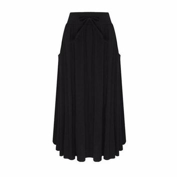 DCCKON3 7 colors zanzeaWomen long skirts brief pleated elastic high waist casual soild pockets loose skirts plus size