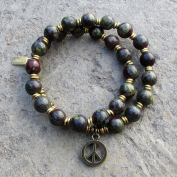 Grounding and protection, bloodstone 27 bead wrap mala bracelet™