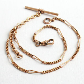 Antique 10k Rosy Yellow Gold Filled Pocket Watch Chain - Edwardian Vintage Swivel Clip Mens Double Albert Link Chain Jewelry A&ZC Co