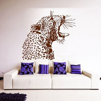 Cheetah Wall Decal Zoo Vinyl Stickers Safari Decals Leopard Wild Cat Decal Art Mural Home Design Interior Animals Living Room Decor KY57