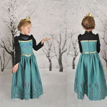 DCCKIX3 Girls Kids Princess Frozen Elsa Anna Long Sleeve Cosplay Party Fancy Gown Dress = 1945854596