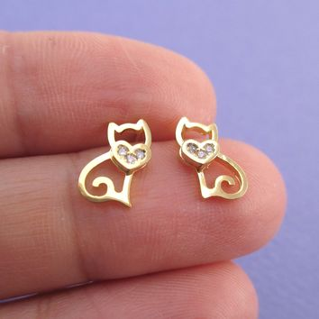 Kitty Cat Outline Shaped Allergy Free Stud Earrings in Gold with Rhinestone Heart